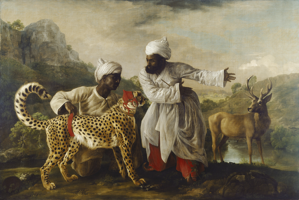 A Cheetah and a Stag with Two Indian Attendants