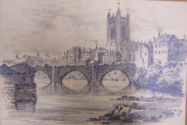 The Old Church and Salford Bridge (from an old print)