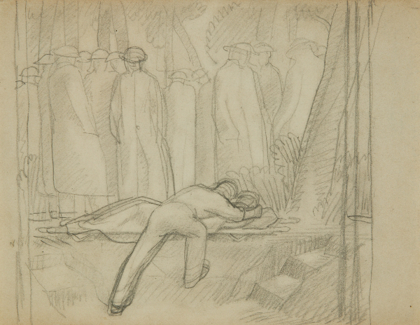 Five Studies for 'Advance Dressing Station on the Sturma'