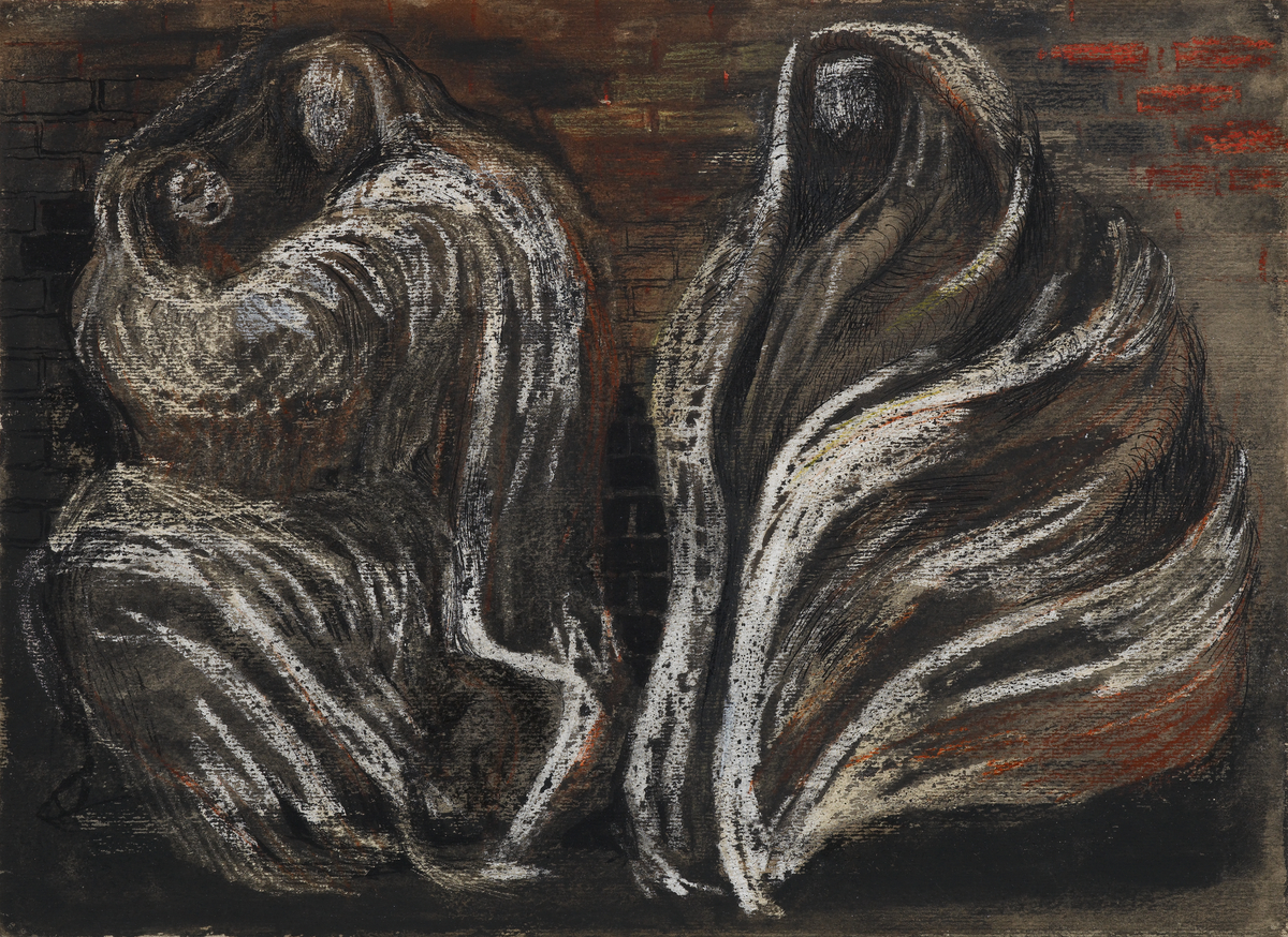 Shelter Scene: Two Swathed Figures
