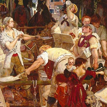 Ford Madox Brown, Work, detail one of the artworks used in our key stage 2 Victorians workshop