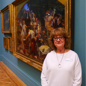 A volunteer at Manchester Art Gallery