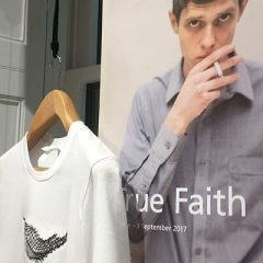 True Faith poster and T shirt available for sale in Manchester Art Gallery Shop