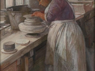 Sylvia Pankhurst, In a Pot Bank: Finishing off the Edges of Unbaked Pots on a Whirler, 1907