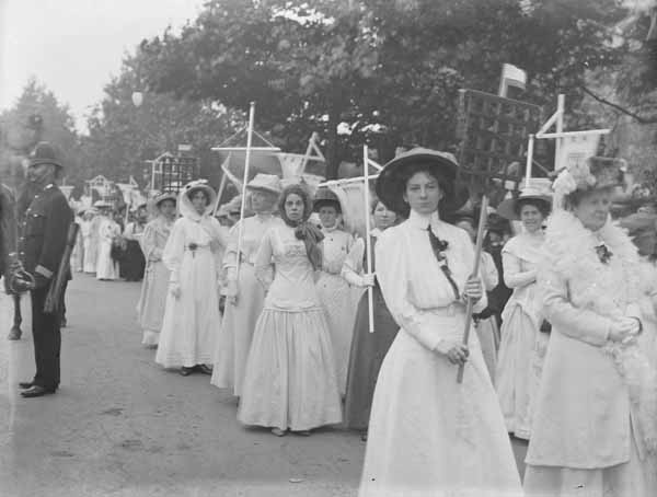 The Prisoners' Pageant section of the Suffragette Procession, 23 July 1910, Christina Broom ©Museum of London