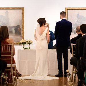 Wedding couple at Manchester Art Gallery