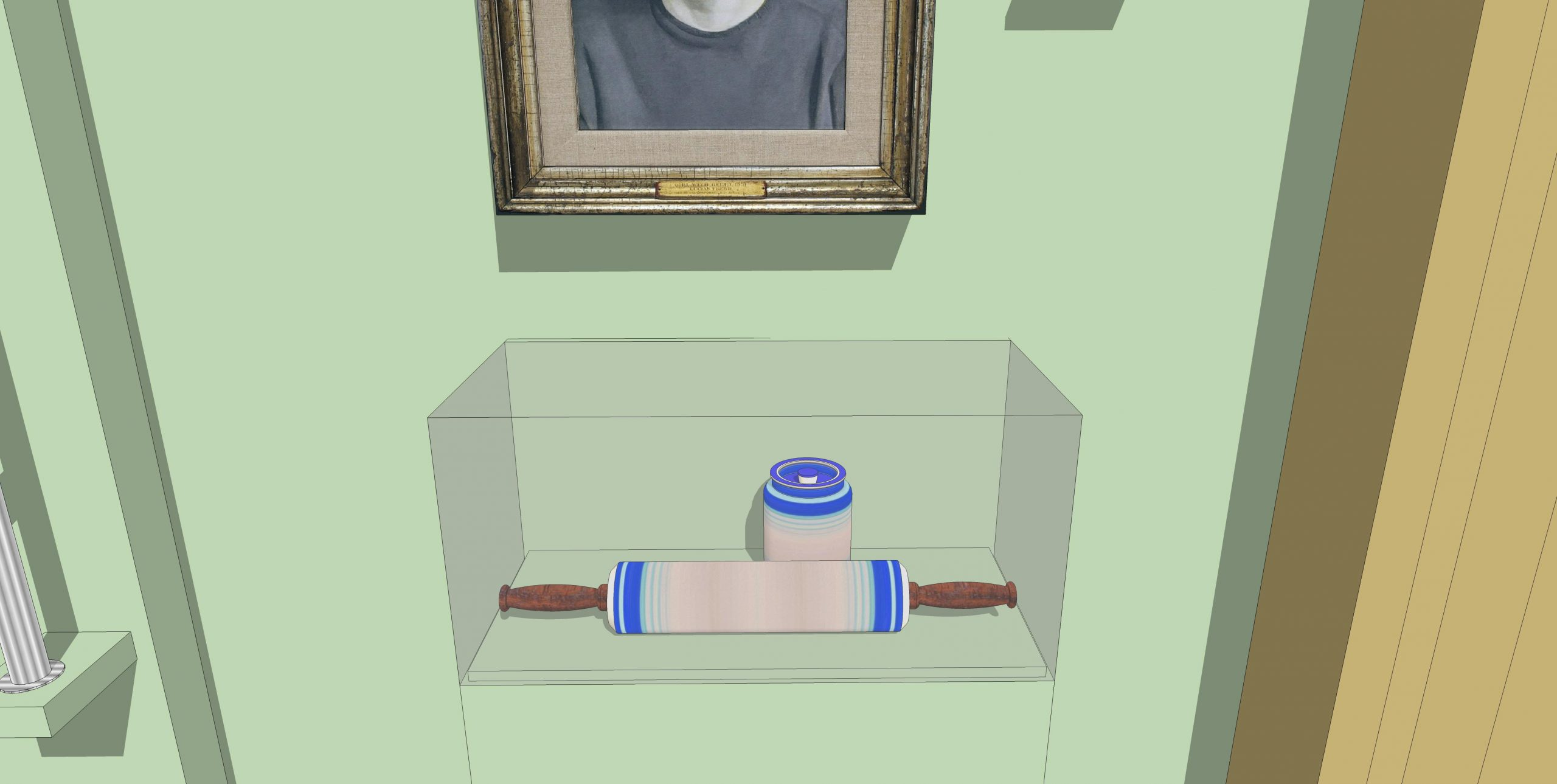 Model of a display case with rolling pin and jar